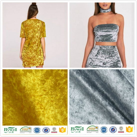 Polyester Spandex Crushed Ice Velvet Stretch Fabric for Garments
